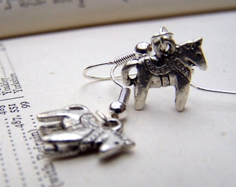 Dala Horse Silver Horse Earrings - Horse Jewelry - Handmade Girls Teens Tweens