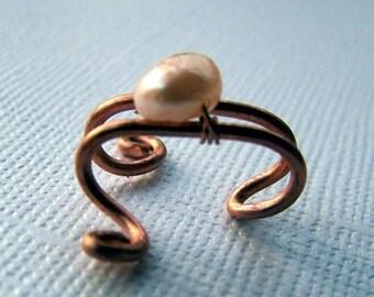 Copper Ear Cuff Freshwater Pearl Jewelry Copper Ear Cuffs