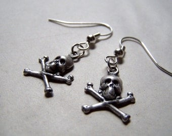 Skull and Crossbones Jewelry Skull Earrings Deathly Hallows Dia De Los Muertos Harley Davidson Goth Gothic Earrings
