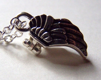 Prayer Box Necklace - Little Tiny Wish Box Locket Wing Jewelry Secret Box