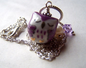 Purple Owl Necklace - Owl Jewelry -  Silver Owl Necklace - Cute Little Owls - Kawaii Owls