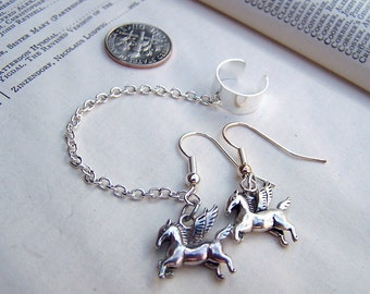 Silver Ear Cuff with Chain with Pegasus Earrings Set Pegasus Jewelry Flying Horse Jewelry