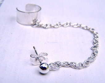 Ear Cuff with Chain Silver Earcuff Ear Wrap