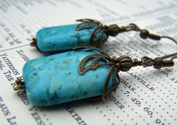 ON SALE Vintage Looking Turquoise Earrings