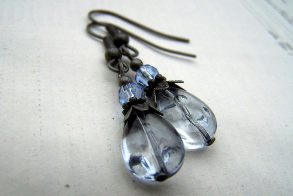 Vintage Earrings Vintage Inspired Blue and Gray Romantic Neo Victorian Blue Earrings