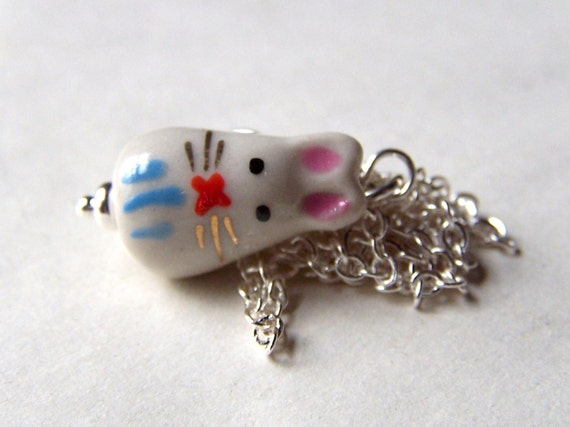 Easter Bunny Necklace - Girls Necklace - Easter Jewelry - Little Pink and Blue Rabbit Necklace