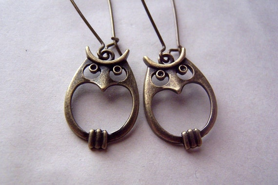 Brass Owl Earrings  Vintage Owls Jewelry