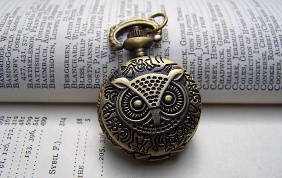 Owl Necklace Vintage Inspired Victorian Pocket Watch Jewelry Locket Gift for Her