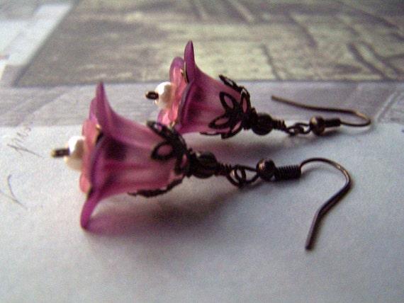 Vintage Earrings - Pink Flower Earrings - Vintage Inspired Neo Victorian Romantic