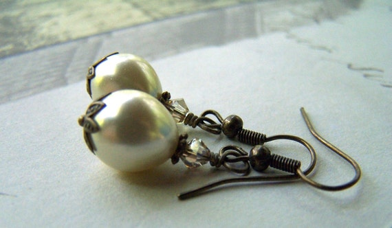 Vintage Earrings - Pearl Earrings - Vintage Inspired Neo Victorian Antiqued Brass Bridal Wedding