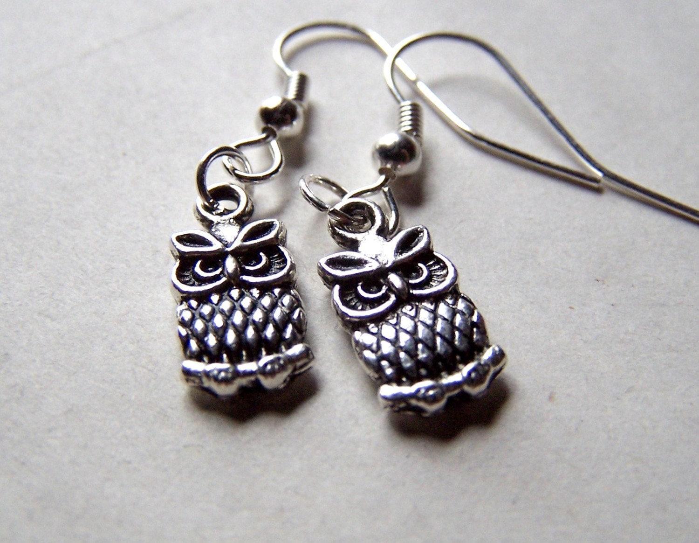 Silver Owl Earrings Cute Little Girls Earrings Owl Jewelry