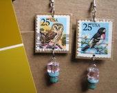 Bird Watcher Vintage Postage Stamp earrings