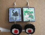 Vintage Japanese Postage Stamp Earrings