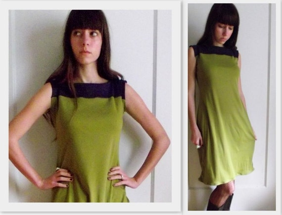 Color Block Dress Made to Order In Organic Cotton Jersey