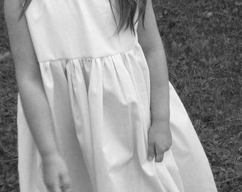 Natural rustic country Cotton Flower Girl Dress... As Seen in Martha Stewart Weddings Spring 2011