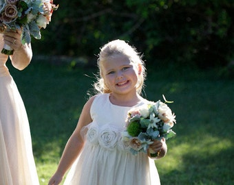Ivory Flower girl dress ... Misty Cedar... Natural Cotton 6-7-8
