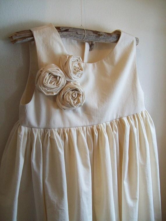 Flower girl dress...Iris... Natural Cotton 2T-5