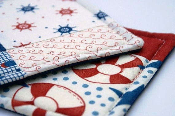 Quilted Potholder Set - Nautical Theme