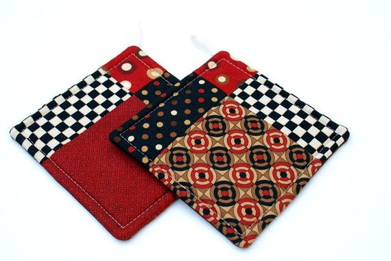 Quilted Potholder Set in Red Brown and Black Geometric Prints
