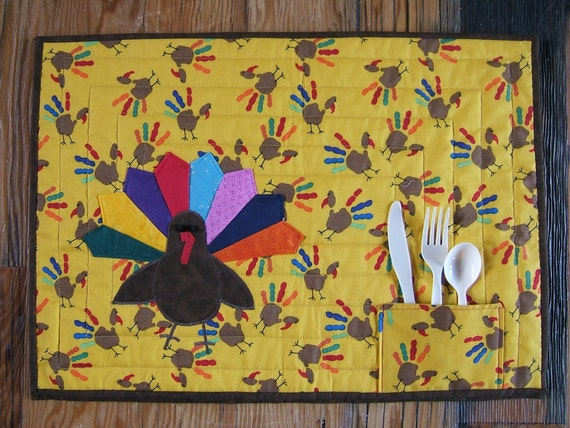 Thanksgiving Placemat or Table Topper Set of 4