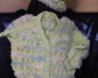 CHILD'S LIME GREEN BUTTON SWEATER AND HAT SET