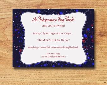 Printable July 4th Picnic Invitation-Digital Custom Card-Independence Day Bash