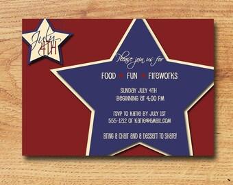 Printable July 4th Invitation-Custom Digital Card-Big Blue Star