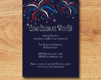 Printable 4th of July Party Inviation-Digital Custom Card-Come Celebrate