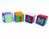 Custom Soft Baby Name Blocks- Set of 4 personalized and hand stitched felt blocks
