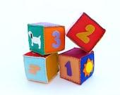Set of 4 personalized hand stitched felt blocks - Custom Baby Name Soft Blocks