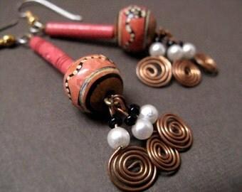 Ceramic Earrings Copper - Vintage / Peru Hand Painted