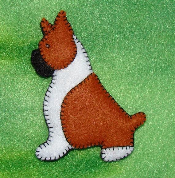 Boxer Refrigerator Magnet-Christmas ornament-handmade felt-unique design