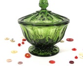 Vintage Green Glass Candy Dish Anchor Hocking Fairfield Pattern Repurpose