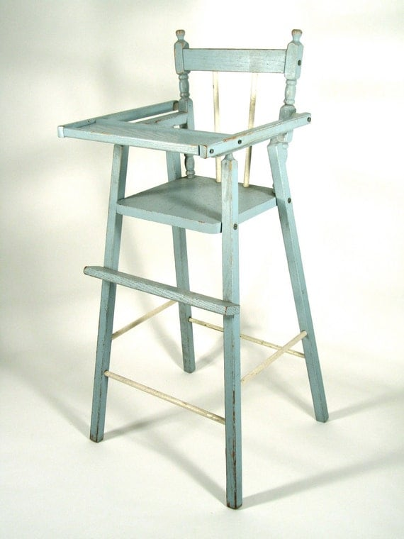 Sale Item Vintage Distressed Wood Doll High Chair By
