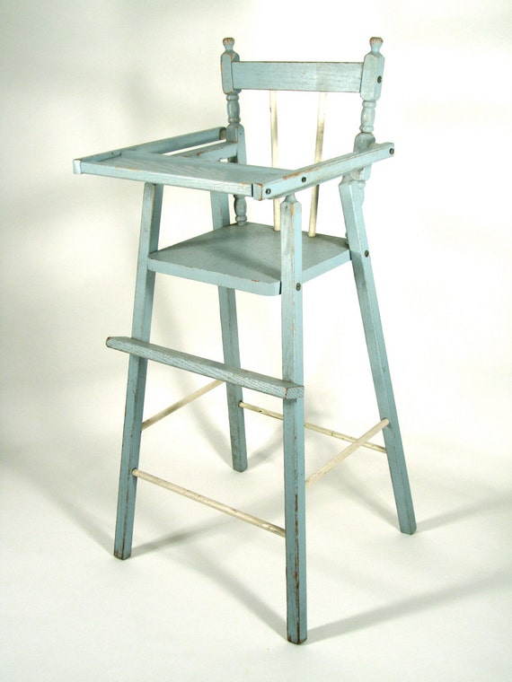 Sale item vintage distressed wood doll high chair in blue would be