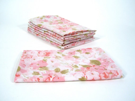 SWEET LOW PRICE Pink Flower Vintage Sheet Fat Quarter