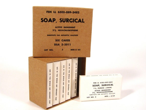 VIntage 1962 Box of (6) Surgical Soaps By Hewitt Soap Company MINT CONDITION