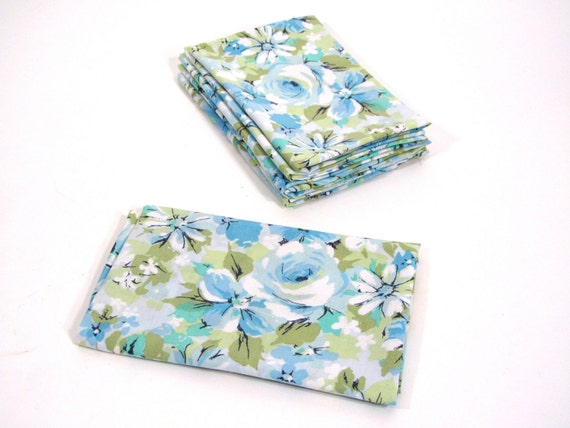 60's Blue Flower Vintage Sheet Fat Quarter