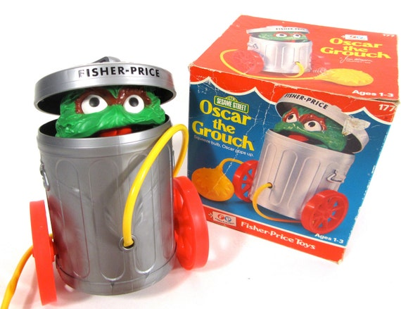 RESERVED FOR mapath22 Rare Vintage Fisher Price Sesame Street Oscar the Grouch Pull Toy Num. 177
