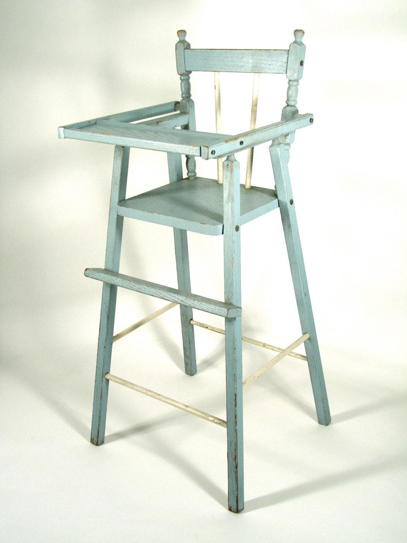 Sale Item Vintage Distressed Wood Doll High Chair In Blue
