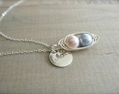Mom's 2 Peas in a Pod - Pink and Blue Pearls Wrapped in Sterling Silver with Personalized Disk - Mother's Day