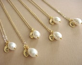 Bridesmaid Gift - 6 Cream or White Pearl Hand Stamped INITIAL Necklaces in 14K Gold Filled - choose pearl color - 10% off