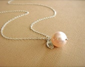 Personalized Simple Pink Pearl Necklace in Silver - Wedding, Bride, Bridal, Bridesmaid, Mother's Day