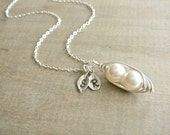 Personalized 2 Peas in a Pod wrapped in Sterling Silver - Choose your INITIAL and PEARL COLOR - Mother's Day