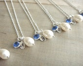Bridesmaid Gift - 6 Cream or White Pearl Hand Stamped INITIAL and BIRTHSTONE Necklaces in Sterling Silver - choose pearl color - 10% off
