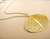 Stunning Gold Leaf Necklace - LONG 28 Inches
