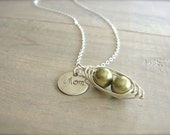 Mom's Personalized 2 Peas in a Pod Necklace - Pearls in Sterling SIlver with Personalized Disk - Choose Your PEARL COLOR - Mother's Day