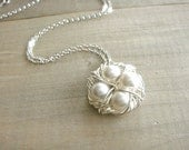 Birdnest Pendant - 4 Pearls Wrapped in Silver - Choose Your PEARL COLOR - mom, mother, grandmother, kids, children, Mother's Day