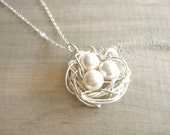 Birdnest Pendant - 3 Pearls Wrapped in Silver - Choose Your Pearl Color - mom, mother, kids, children, grandmother, Mother's Day