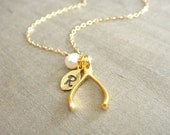 Personalized Gold Vermeil Wishbone Necklace